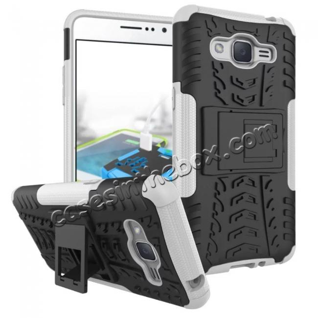 wholesale Hybrid TPU Hard Shockproof Cover Case Kickstand for Samsung Galaxy J2 Prime - White