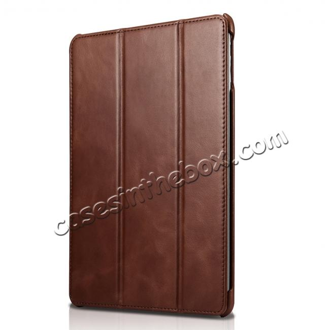 discount ICARER Vintage Series Genuine Leather Stand Case For Apple New iPad 9.7 (2017) - Brown