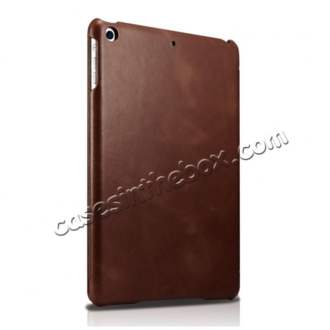 cheap ICARER Vintage Series Genuine Leather Stand Case For Apple New iPad 9.7 (2017) - Brown