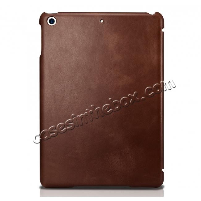 top quality ICARER Vintage Series Genuine Leather Stand Case For Apple New iPad 9.7 (2017) - Brown