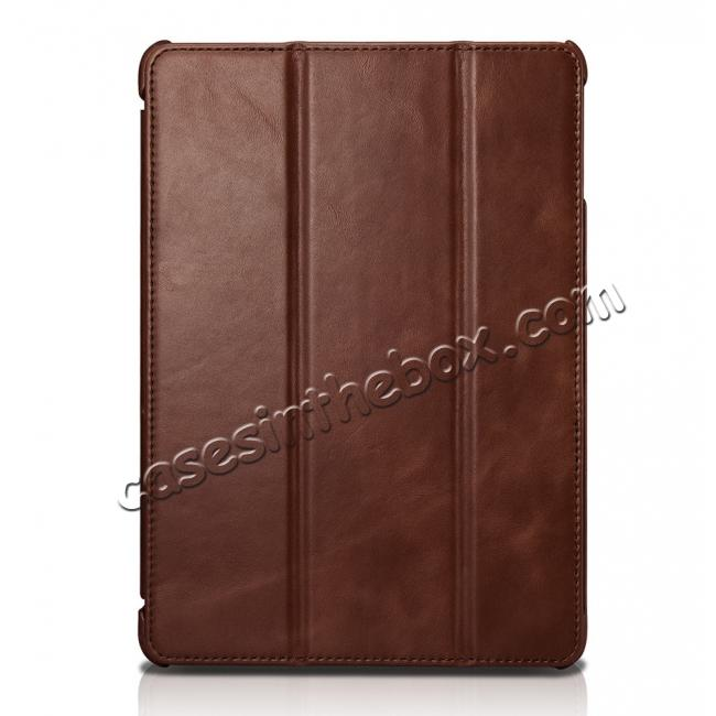best price ICARER Vintage Series Genuine Leather Stand Case For Apple New iPad 9.7 (2017) - Brown