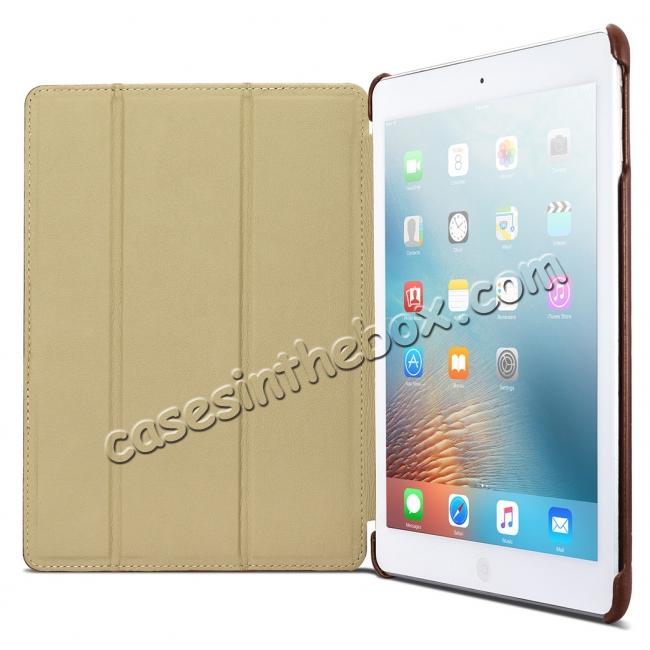 on sale ICARER Vintage Series Genuine Leather Stand Case For Apple New iPad 9.7 (2017) - Brown