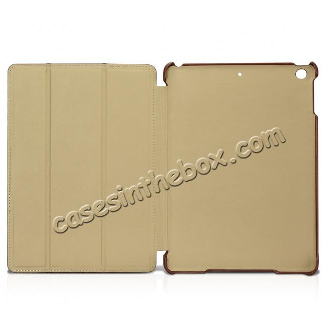 low price ICARER Vintage Series Genuine Leather Stand Case For Apple New iPad 9.7 (2017) - Brown