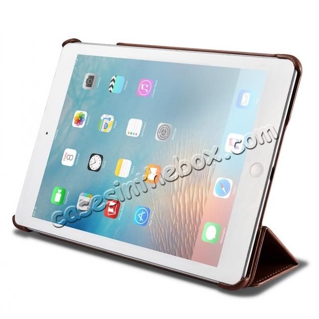 high quanlity ICARER Vintage Series Genuine Leather Stand Case For Apple New iPad 9.7 (2017) - Brown