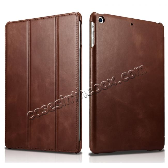wholesale ICARER Vintage Series Genuine Leather Stand Case For Apple New iPad 9.7 (2017) - Brown