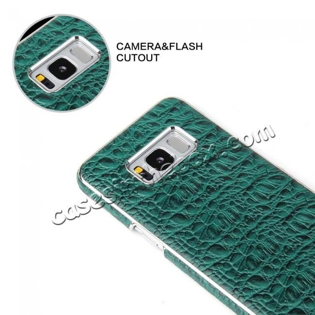 discount Luxury Genuine Leather Crocodile Grain Back Covers Cases For Samsung Galaxy S8+ Plus - Green