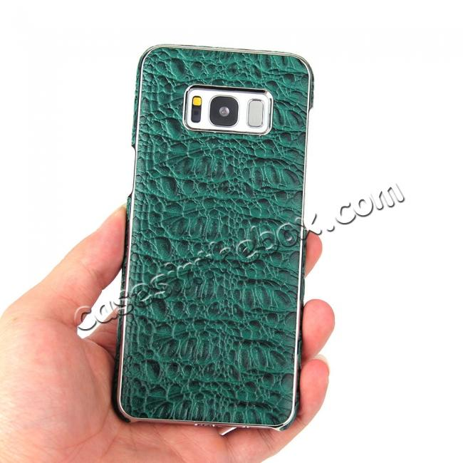 low price Luxury Genuine Leather Crocodile Grain Back Covers Cases For Samsung Galaxy S8+ Plus - Green