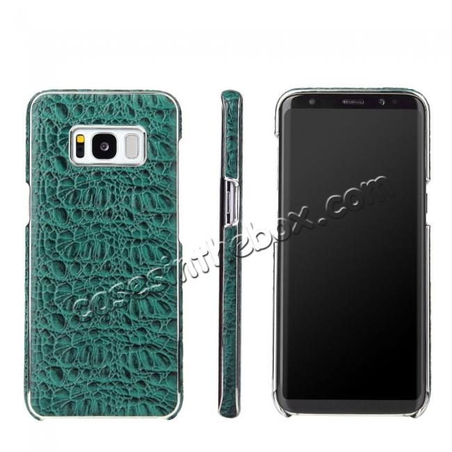 wholesale Luxury Genuine Leather Crocodile Grain Back Covers Cases For Samsung Galaxy S8+ Plus - Green