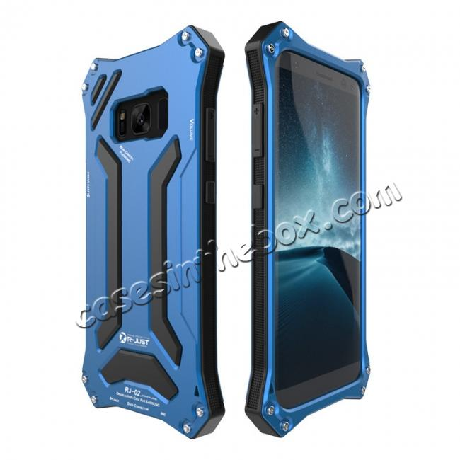 top quality R-JUST Dust Shock Proof Waterproof Aluminum Metal Case Cover For Samsung Galaxy S8+ Plus - Blue