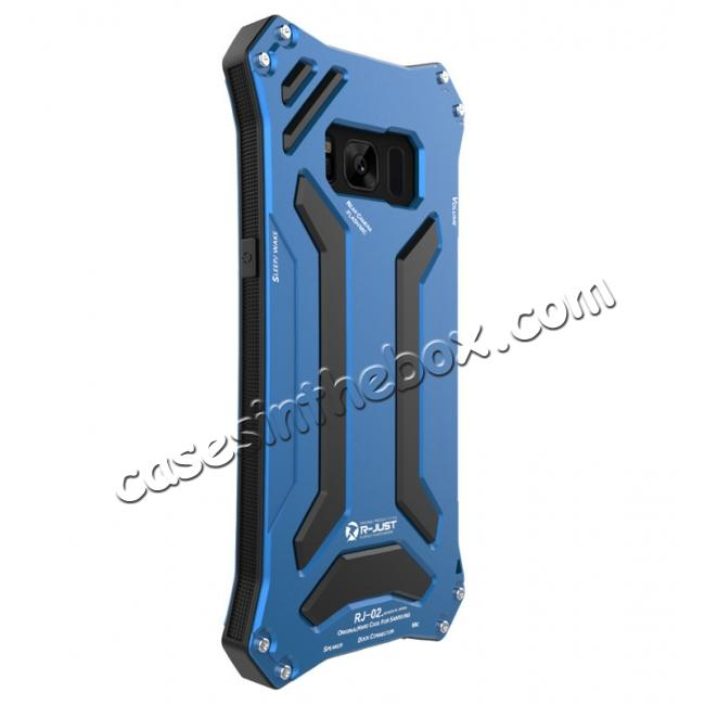 low price R-JUST Dust Shock Proof Waterproof Aluminum Metal Case Cover For Samsung Galaxy S8+ Plus - Blue