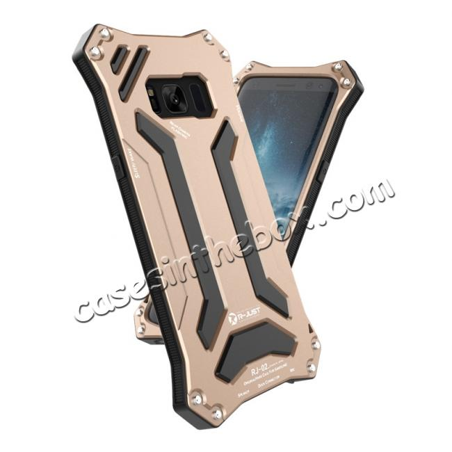 high quanlity R-JUST Dust Shock Proof Waterproof Aluminum Metal Case Cover For Samsung Galaxy S8+ Plus - Gold