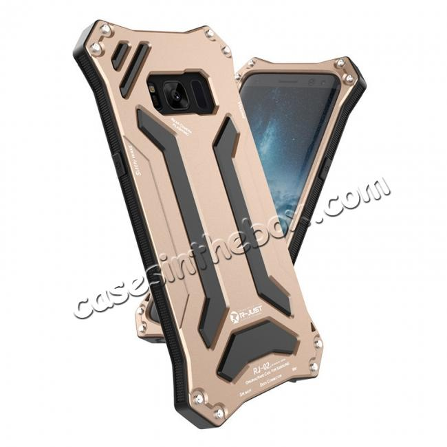 metal aluminum case for galaxy s8,wholesale R-just Waterproof Shockproof Dustproof Metal Aluminum Silicone Case For Samsung Galaxy S8 - Gold