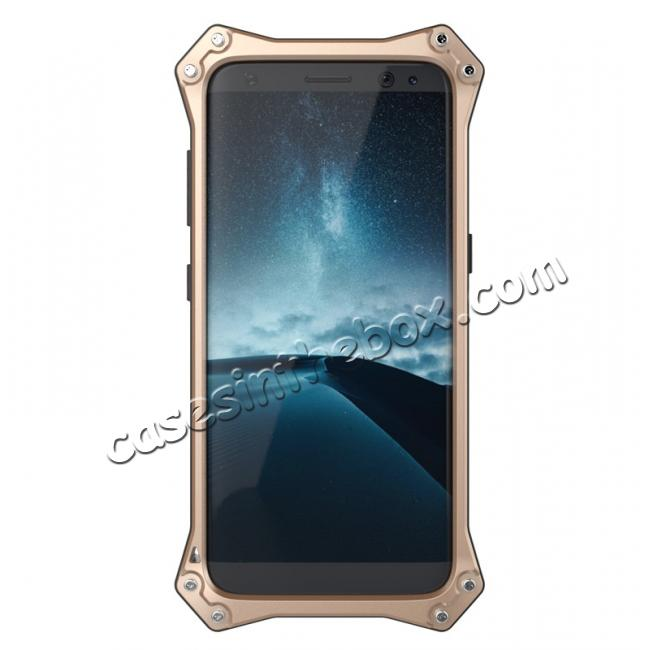 metal case s8,discount R-just Waterproof Shockproof Dustproof Metal Aluminum Silicone Case For Samsung Galaxy S8 - Gold
