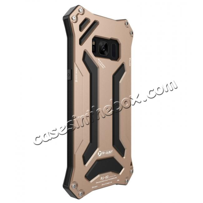 galaxy s8 metal cas,best price R-just Waterproof Shockproof Dustproof Metal Aluminum Silicone Case For Samsung Galaxy S8 - Gold