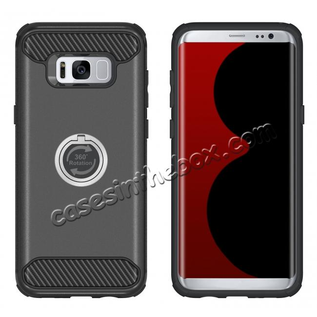 cheap Ring Grip Holder Shockproof Protective Case With Kickstand for Samsung Galaxy S8+ Plus - Black