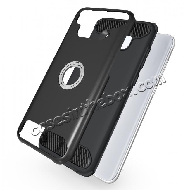 low price Ring Grip Holder Shockproof Protective Case With Kickstand for Samsung Galaxy S8+ Plus - Black