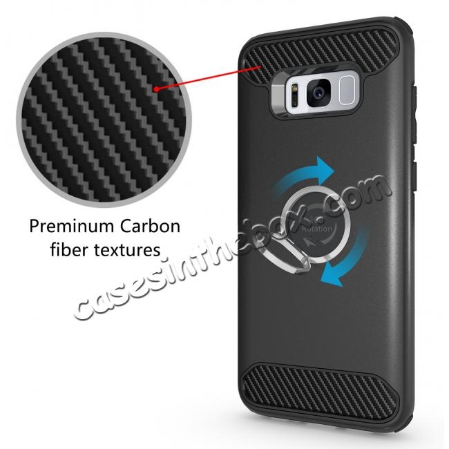 top quality Ring Grip Holder Shockproof Protective Case With Kickstand for Samsung Galaxy S8+ Plus - Black