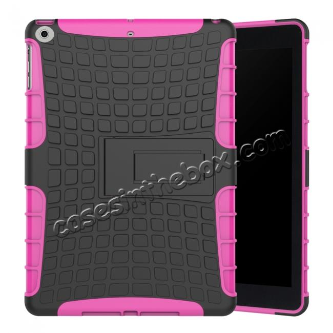 wholesale Rugged Armor Shockproof Dual Layer Protective Kickstand Case For Apple iPad 9.7 (2017) - Hot pink