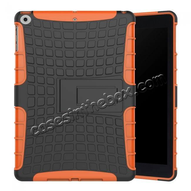 wholesale Rugged Armor Shockproof Dual Layer Protective Kickstand Case For Apple iPad 9.7 (2017) - Orange