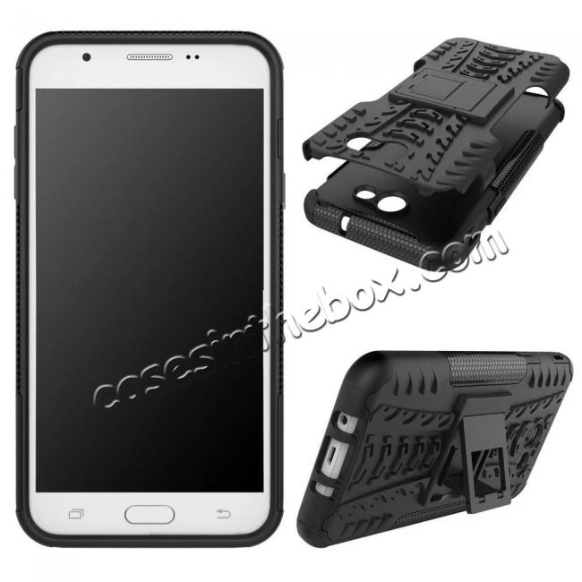 discount Shockproof Protection Dual Protective Armor Case Cover with Kickstand for Samsung Galaxy J7 Prime 2017 - Black