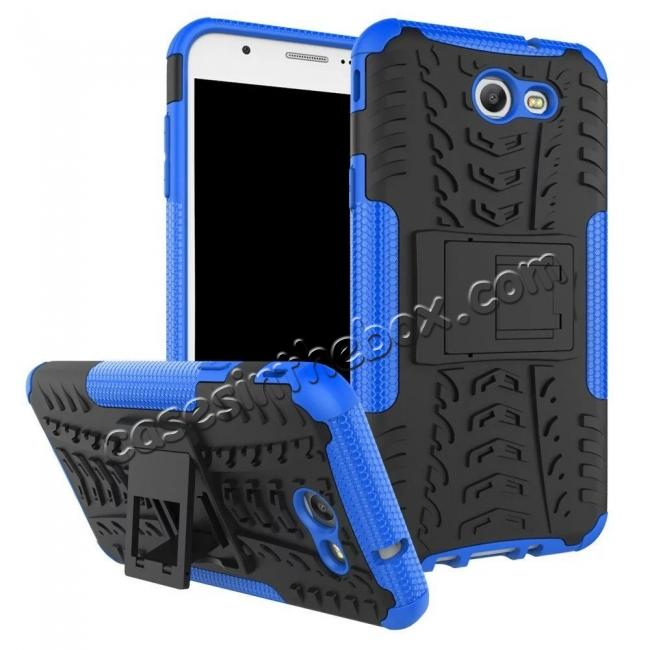 wholesale Shockproof Protection Dual Protective Armor Case Cover with Kickstand for Samsung Galaxy J7 Prime 2017 - Blue