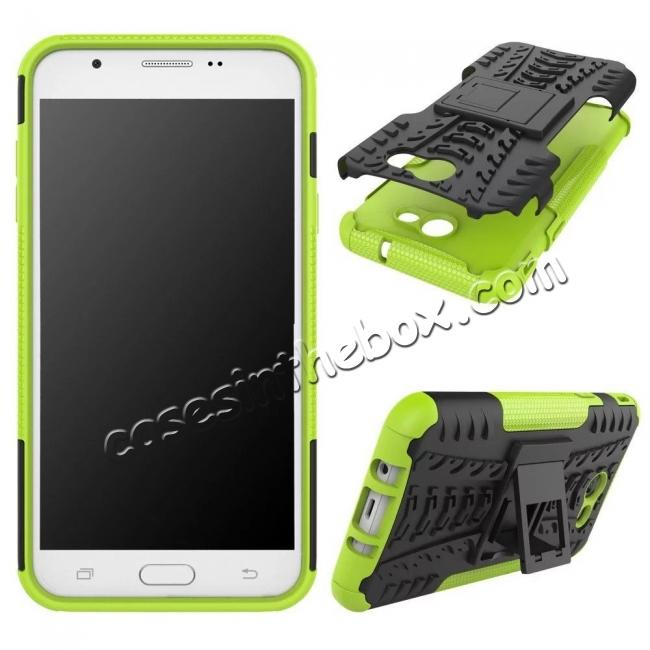 discount Shockproof Protection Dual Protective Armor Case Cover with Kickstand for Samsung Galaxy J7 Prime 2017 - Green