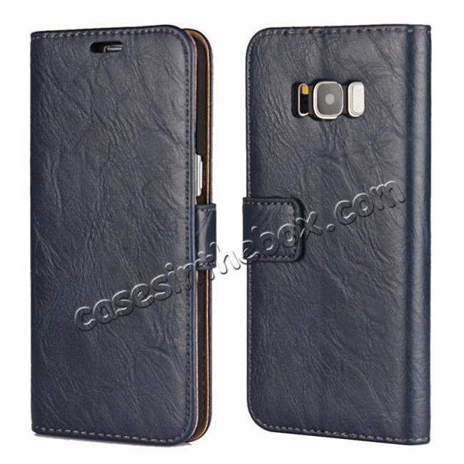 wholesale Tree Texture PU Leather Wallet Case with Card Slots for Samsung Galaxy S8+ Plus - Navy Blue