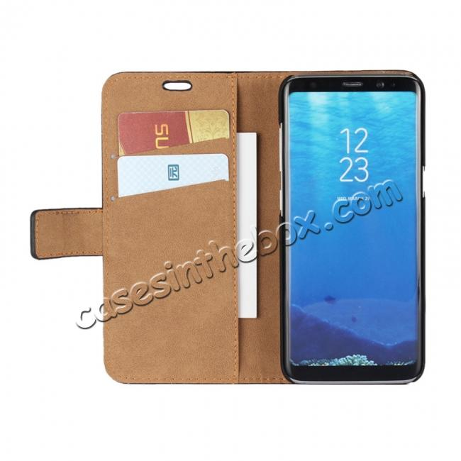 top quality Tree Texture PU Leather Wallet Case with Card Slots for Samsung Galaxy S8+ Plus - Navy Blue