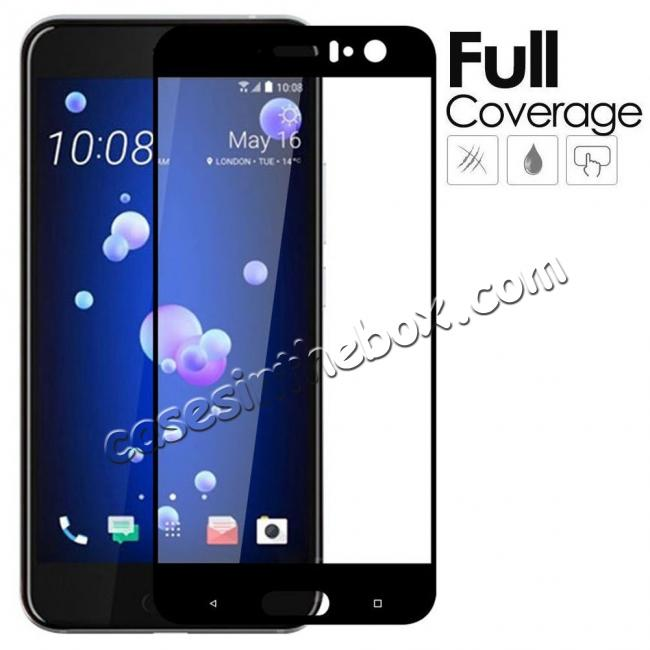 wholesale Black Full Coverage 9H Hardness Tempered Glass Screen Protector Film For HTC U11