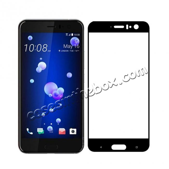 discount Black Full Coverage 9H Hardness Tempered Glass Screen Protector Film For HTC U11