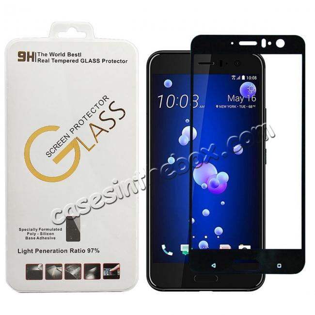 cheap Black Full Coverage 9H Hardness Tempered Glass Screen Protector Film For HTC U11