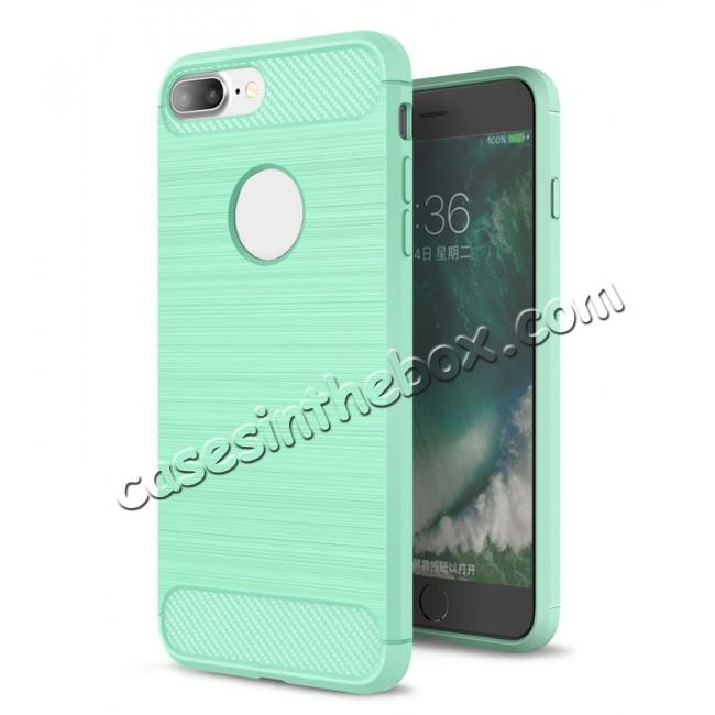 wholesale Brushed Metal Texture Soft TPU Silicone Carbon Fiber Protective Cover for iPhone 7 Plus - Mint Green