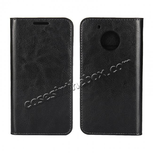 wholesale Crazy Horse Genuine Leather Wallet Case Stand For Motorola Moto G5 - Black