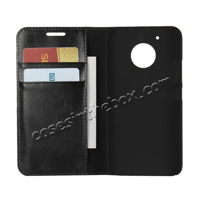 top quality Crazy Horse Genuine Leather Wallet Case Stand For Motorola Moto G5 - Black