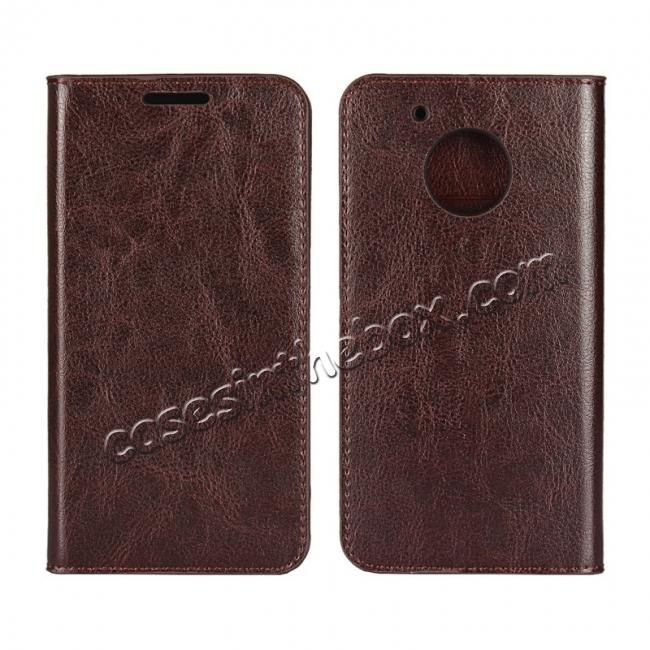 wholesale Crazy Horse Genuine Leather Wallet Case Stand For Motorola Moto G5 - Coffee