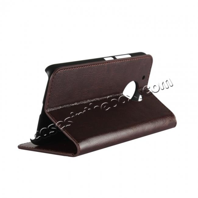 cheap Crazy Horse Genuine Leather Wallet Case Stand For Motorola Moto G5 - Coffee