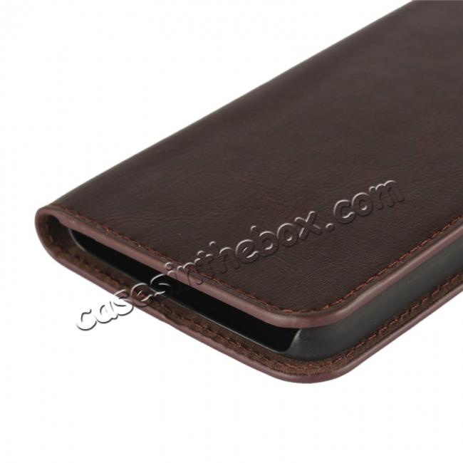 on sale Crazy Horse Genuine Leather Wallet Case Stand For Motorola Moto G5 - Coffee
