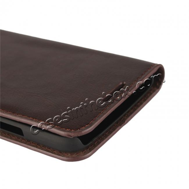 low price Crazy Horse Genuine Leather Wallet Case Stand For Motorola Moto G5 - Coffee