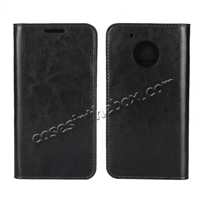 wholesale Crazy Horse Genuine Leather Wallet Case Stand For Motorola Moto G5 Plus - Black