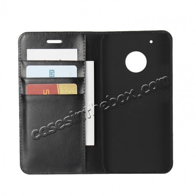 top quality Crazy Horse Genuine Leather Wallet Case Stand For Motorola Moto G5 Plus - Black