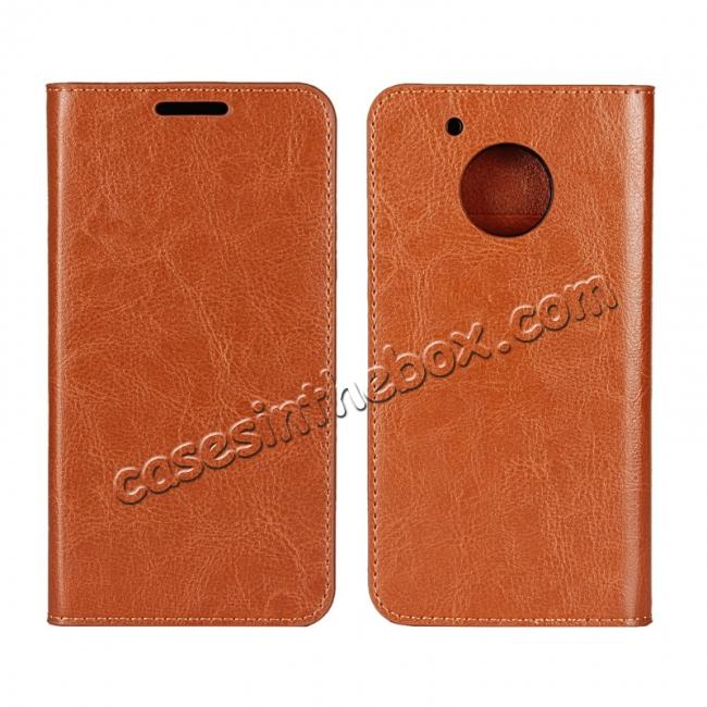 wholesale Crazy Horse Genuine Leather Wallet Case Stand For Motorola Moto G5 Plus - Brown