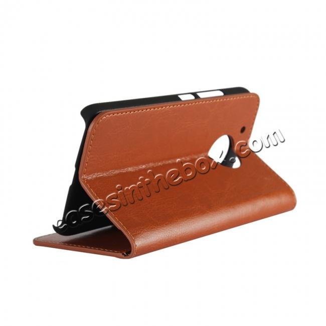 discount Crazy Horse Genuine Leather Wallet Case Stand For Motorola Moto G5 Plus - Brown