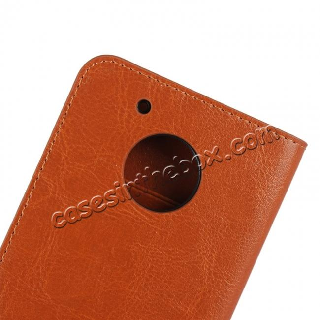 top quality Crazy Horse Genuine Leather Wallet Case Stand For Motorola Moto G5 Plus - Brown