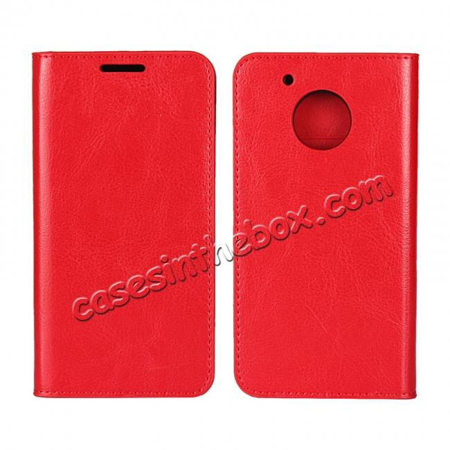 wholesale Crazy Horse Genuine Leather Wallet Case Stand For Motorola Moto G5 Plus - Red