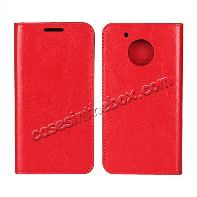 wholesale Crazy Horse Genuine Leather Wallet Case Stand For Motorola Moto G5 - Red