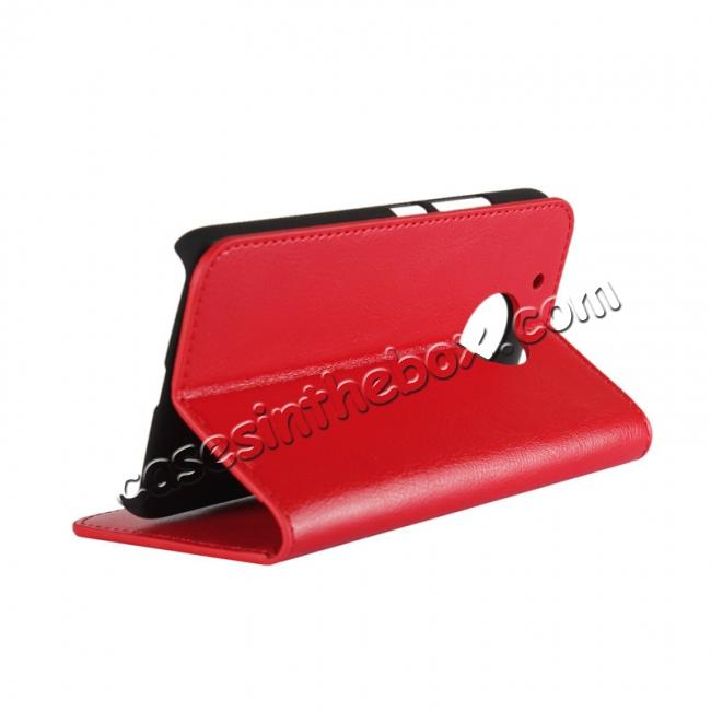 cheap Crazy Horse Genuine Leather Wallet Case Stand For Motorola Moto G5 - Red