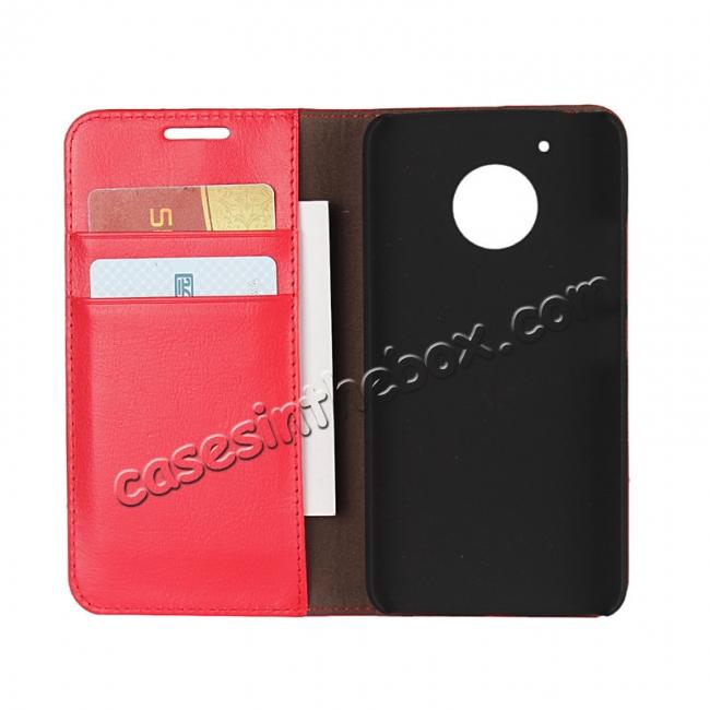 top quality Crazy Horse Genuine Leather Wallet Case Stand For Motorola Moto G5 - Red
