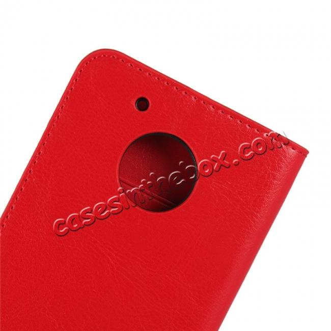 best price Crazy Horse Genuine Leather Wallet Case Stand For Motorola Moto G5 - Red