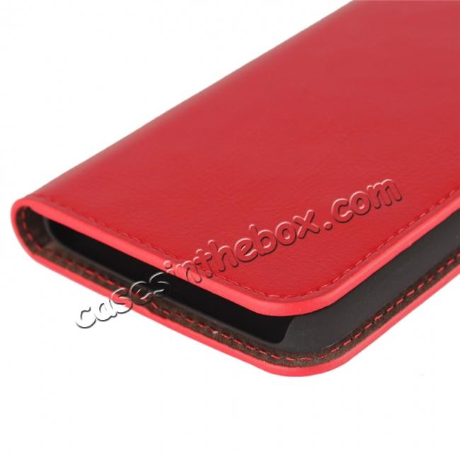 on sale Crazy Horse Genuine Leather Wallet Case Stand For Motorola Moto G5 - Red