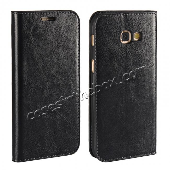 wholesale Crazy Horse Genuine Leather Wallet Case with Stand For Samsung Galaxy A5 2017 - Black
